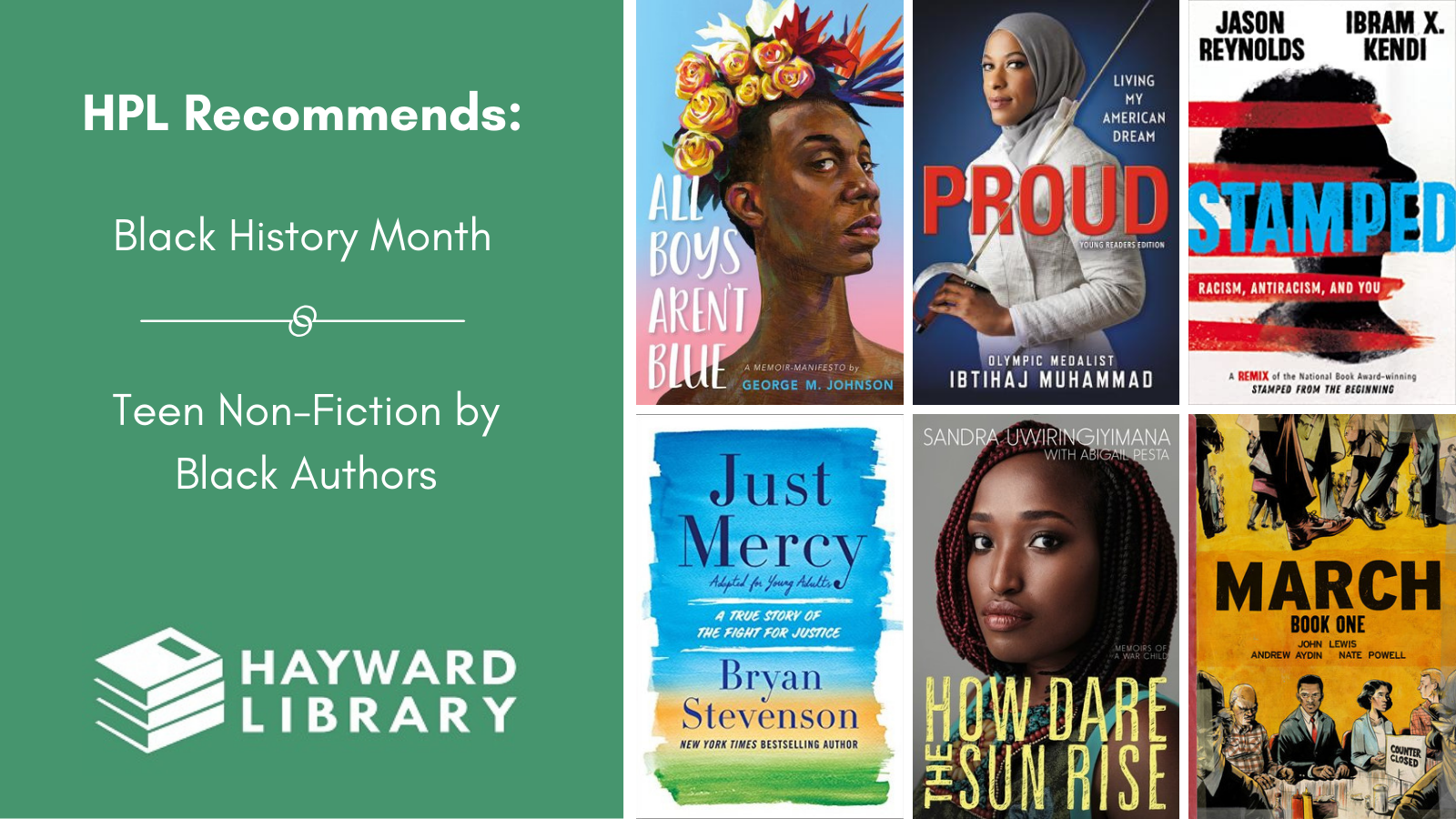 Collage of book covers with a green block on left side that says HPL Recommends, Black History Month, Teen-Fiction by Black Authors in white text, with Hayward Library logo below it.