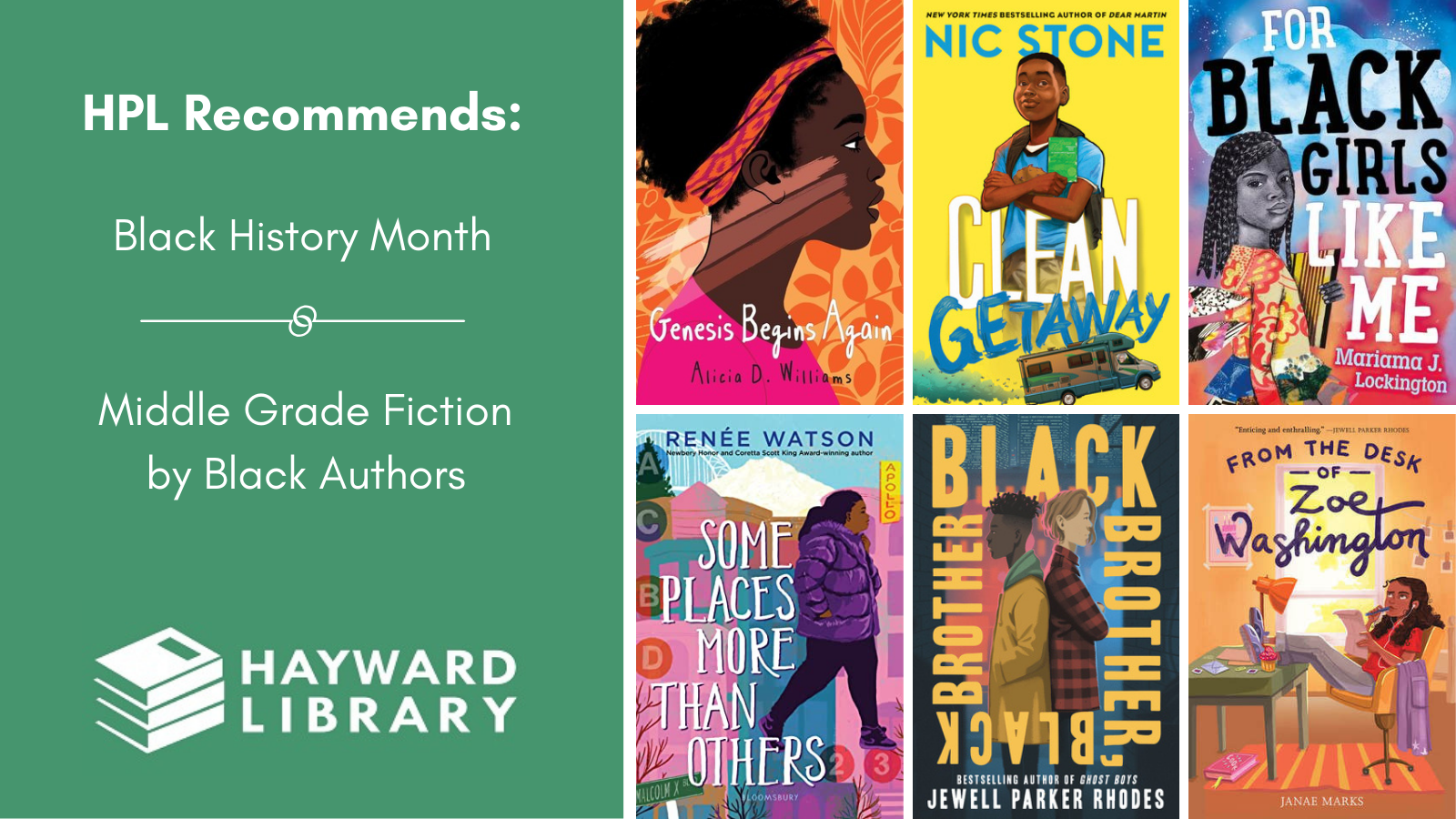 Collage of book covers with a green block on left side that says HPL Recommends, Black History Month, Middle Grade Fiction by Black Authors in white text, with Hayward Library logo below it.