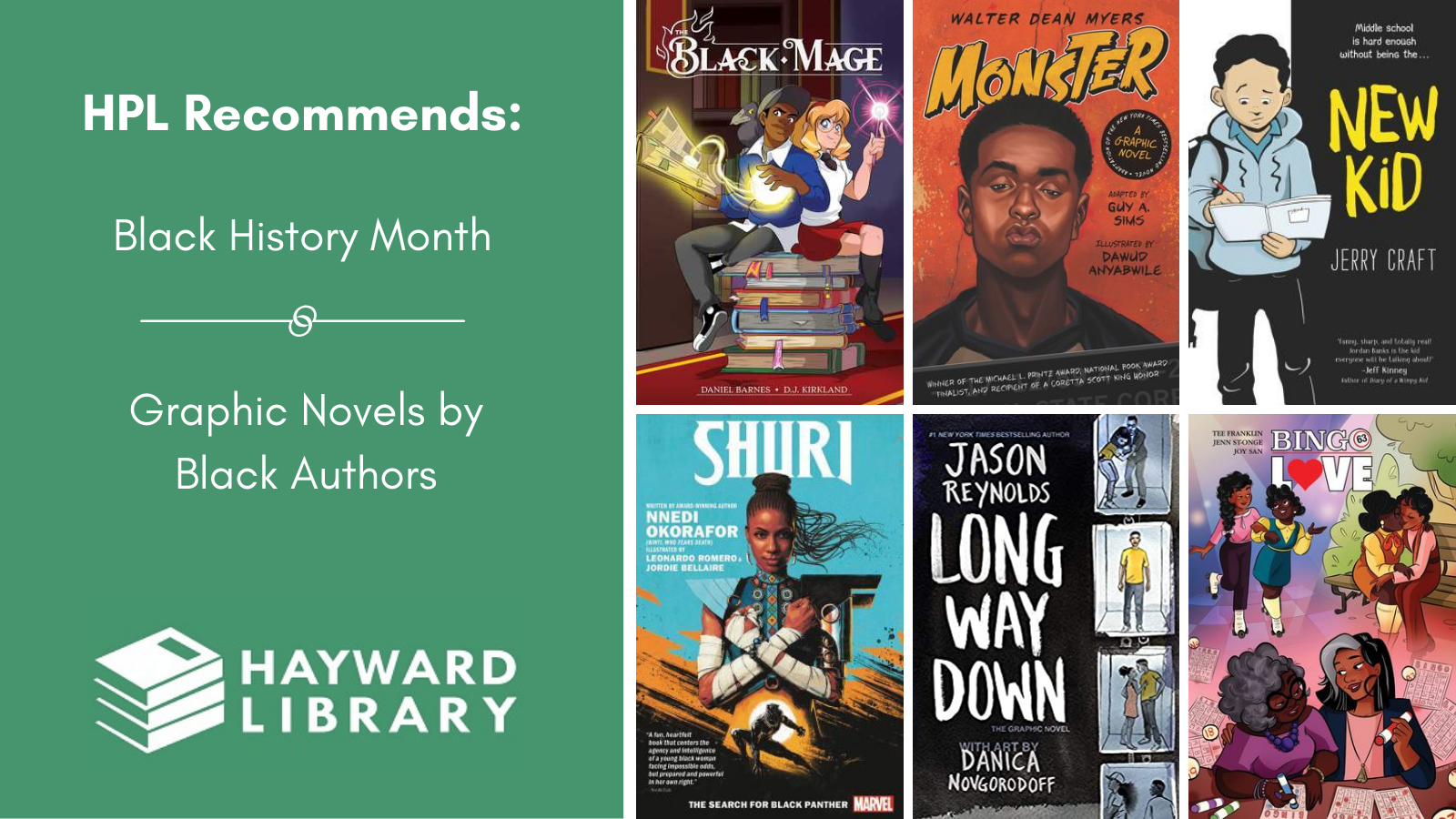 Collage of book covers with a green block on left side that says HPL Recommends, Black History Month, Graphic Novels by Black Authors in white text, with Hayward Library logo below it.
