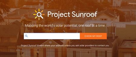 Project Sunroof login screen