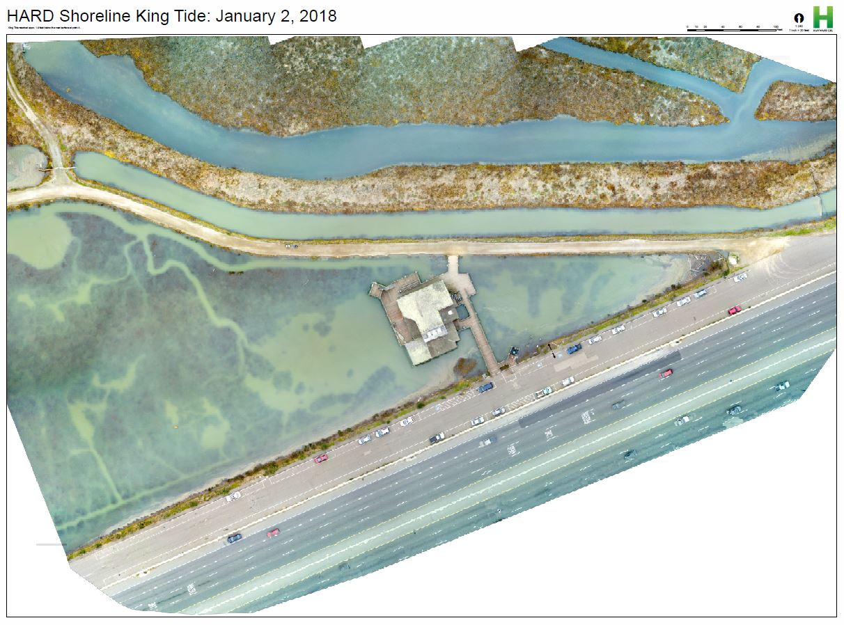 Aerial photograph during the high point of the King Tide on January 2nd, 2018
