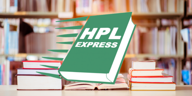 A stack of books on a table in front of a book shelf. The HPL Express green book logo is in the foreground