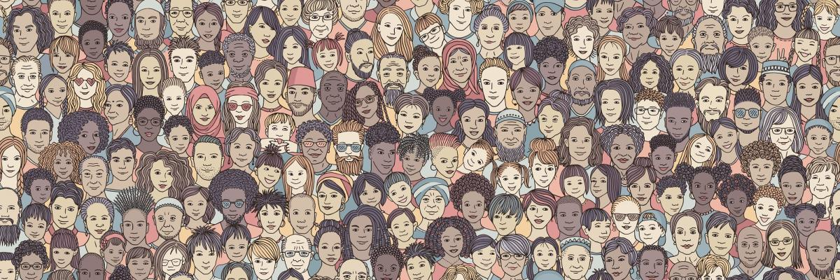Cartoon drawing of many people of different skin colors.
