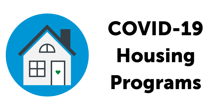 A grey housing with a green heart doorknob next to the text: COVID-19 Housing Programs