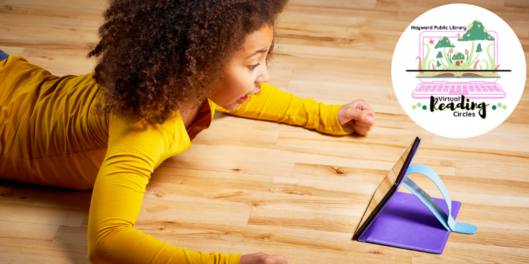 A young girl reading on an IPad. The Virtual reading Circle logo is in the upper right hand corner