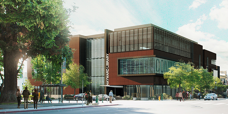 rendering of the Hayward Public Library