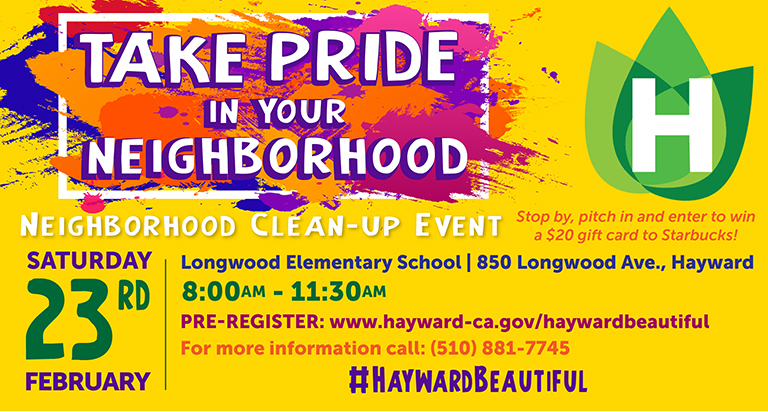 Cleanup header - yellow background with multi-color paint splotches white writing says take pride in your neighborhood