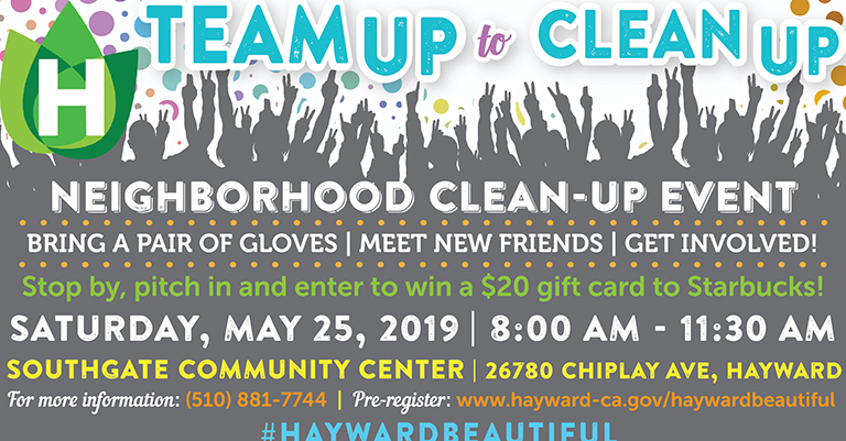 White background with dots in shades of blue, yellow, pink and purple. Team up to clean-up is written in teal above grayed out shadows of people holding their hands up.