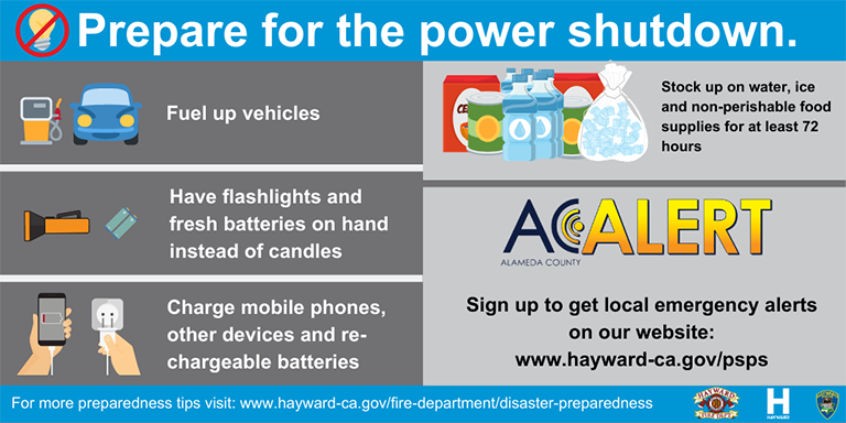 Prepare for the power shutdown info graphic depicting the information provided below.