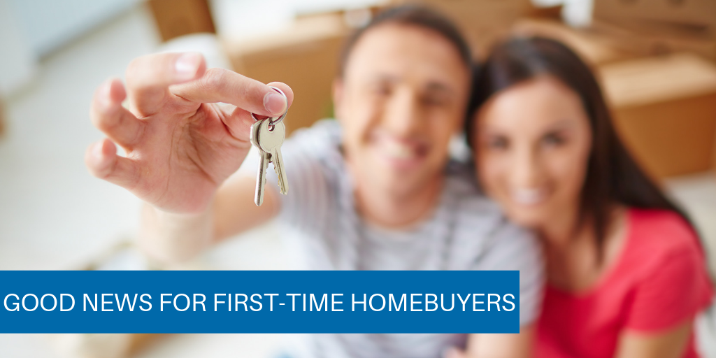 Blurry photo of a man and woman holding a set of keys. on the lower left-hand side of the photo is a blue box with white lettering reading: Good news for First-time homebuyers