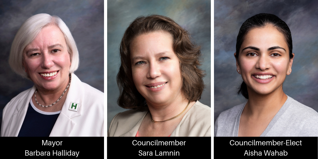 Photos of Mayor-elect Barbara Halliday, Councilmember-elect Sara Lamnin and Councilmember-elect Aisha Wahab