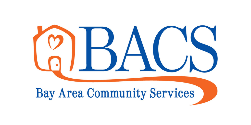BACS Logo - Blue text and an orange line drawing of a house with a heart window