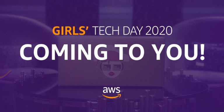A purple screen with the text: Girls' Tech Day 2020 Coming to You