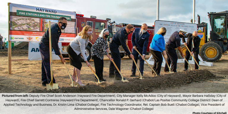 Pictured from left: Deputy Fire Chief Scott Anderson (Hayward Fire Department), City Manager Kelly McAdoo (City of Hayward), Mayor Barbara Halliday (City of Hayward), Fire Chief Garrett Contreras (Hayward Fire Department), Chancellor Ronald P. Gerhard (Chabot/Las Positas Community College District) Dean of Applied Technology and Business, Dr. Kristin Lima (Chabot College), Fire Technology Coordinator, Ret. Captain Bob Buell (Chabot College), Vice President of Administrative Services, Dale Wagoner (Chabot College)