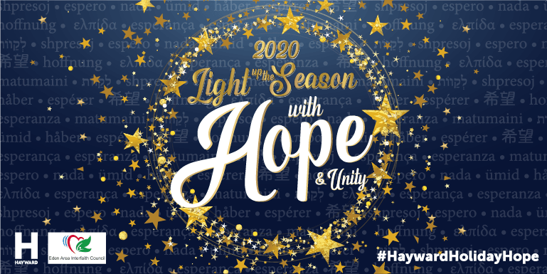 """A dark blue background with gold stars and the text """"Light up the Season with Hope and Unity"""""""