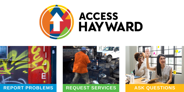 The Access Hayward logo over a picture of graffiti, a person picking up litter and a person talking