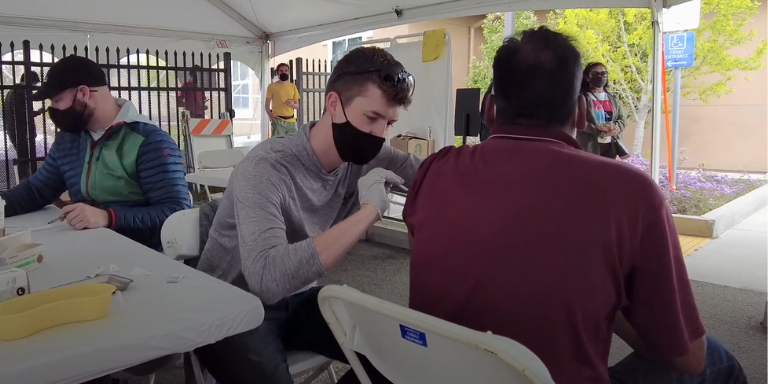 People getting vaccinated at the Hayward Fire House Clinic