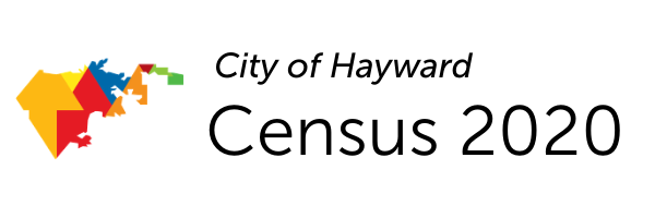 Multi-color map of Hayward and the words City of Hayward Census 2020