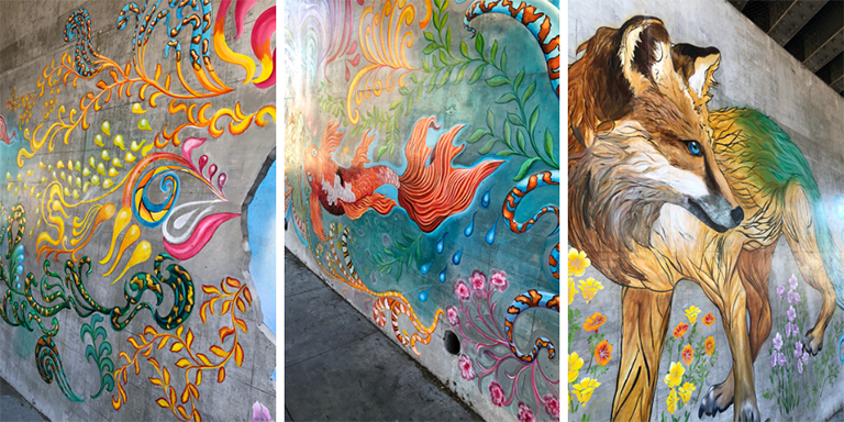 Brightly colored swirls, leaves, fish and a fox on a concrete wall