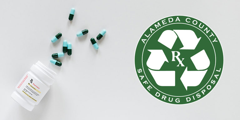 Pill bottle and alameda county Safely dispose logo