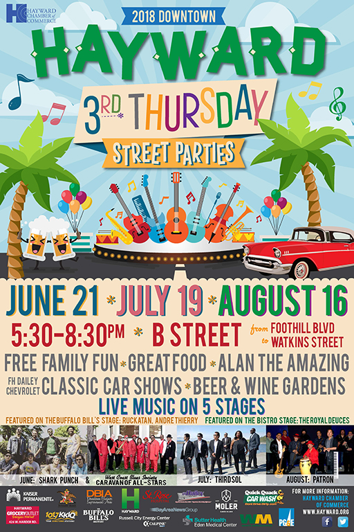 Downtown Hayward 3rd Thursday Street Party Flyer