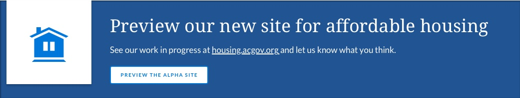 Blue and white banner with Alameda County new affordable housing portal information