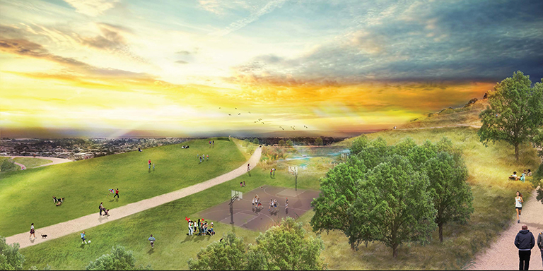 drawing of an open park at sunset overlooking Hayward
