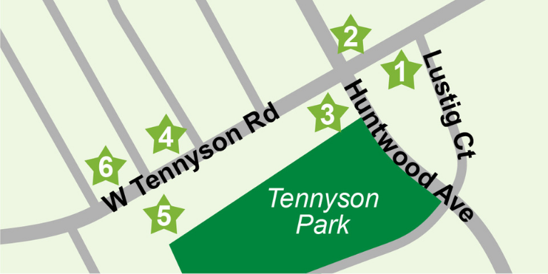 Green and grey map of Tennyson Rd. From Mission Blvd. to Tennyson Park.
