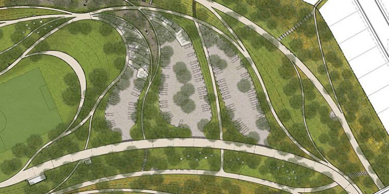 La Vista Park Rim Trail Picnic Areas and parking terraces