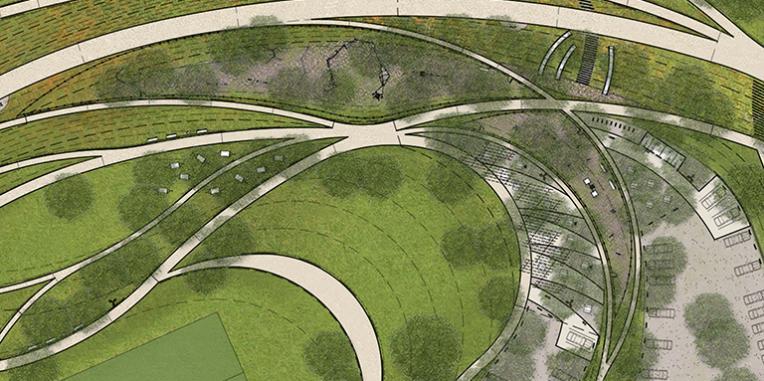 La Vista Park plaza, play areas and amphitheaters