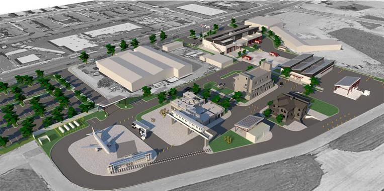 drawing of the 6 buildings that will make up the fire station and training center. Rear view from the Hayward Airport