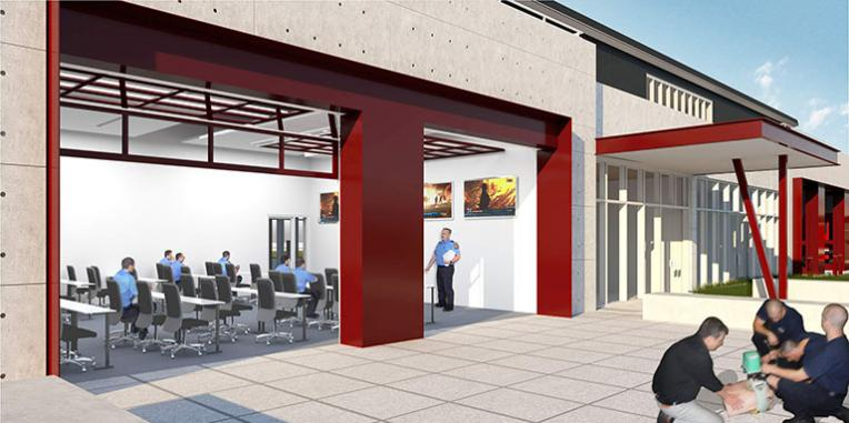 Close up drawing of one of the classrooms in the training center