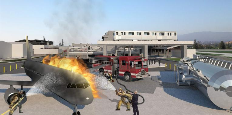 drawing of fire fighters training on a burning airplane near a silver tube simulating a BART car