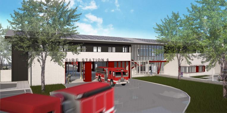Close up drawing of the front of Fire Station 6