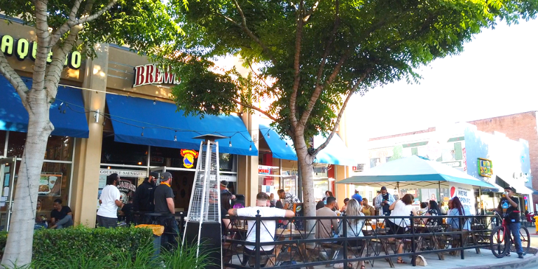 People enjoying dining outside in Downtown Hayward