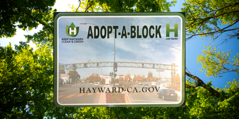 The adopt-a-block program sign on a background of green trees and a blue sky