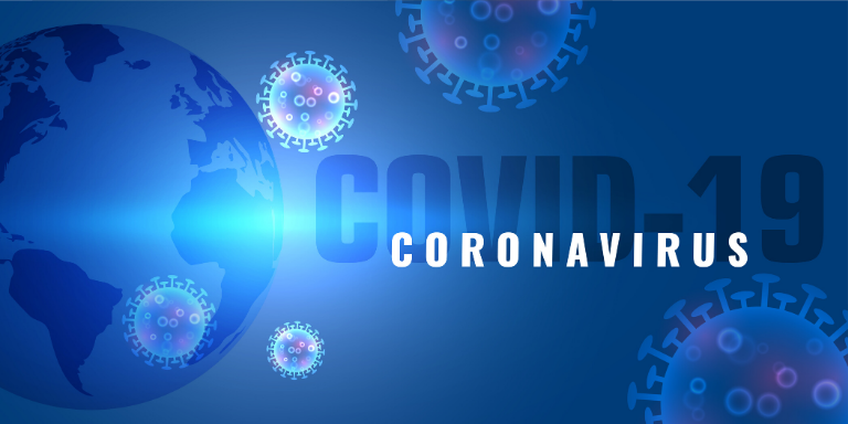 A blue image of the world with the words COVID-19