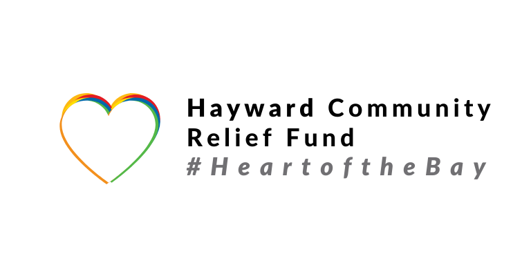 A Multi-colored heart outline next to the words Hayward Community Relief Fund