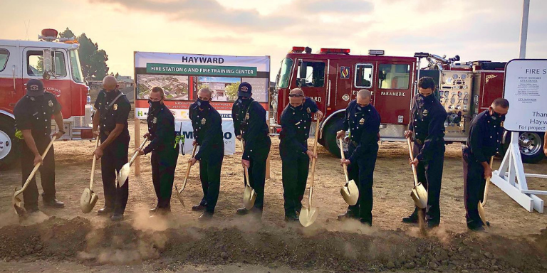 Hayward Fire Chiefs and Captains breaking ground for the Fire station 6 and the fire training center
