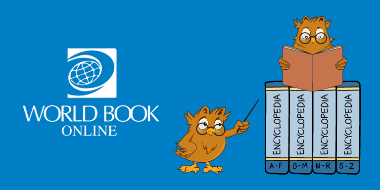 Two cartoon owls reading next to the World Book Online logo