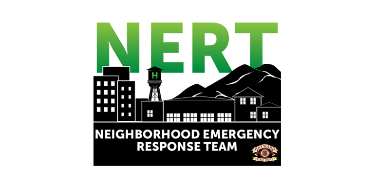 NERT logo in green gradient above a silhouette of Hayward