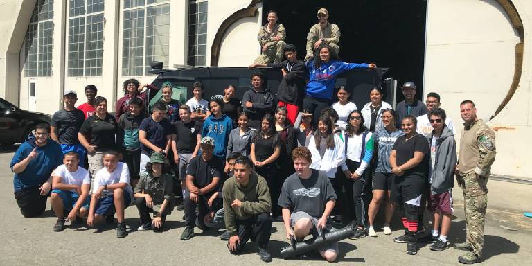 A group of Hayward youth and police officers