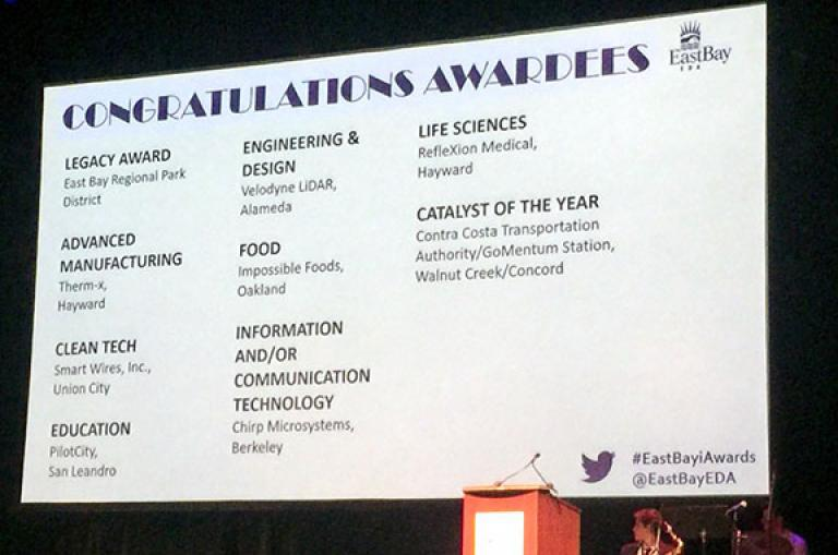 Congratulations slide at the 2018 East Bay Innovation Awards