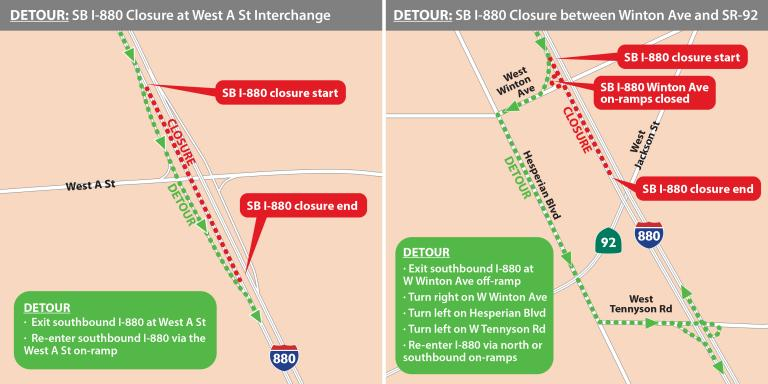 Two maps showing the impacted lanes and what detours you should take