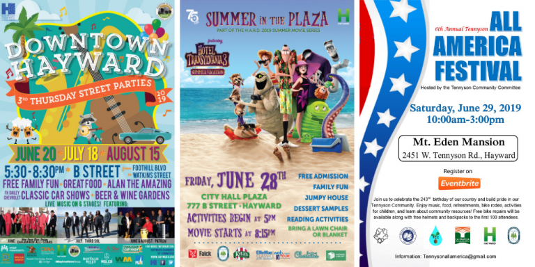 Three event posters side-by-side: Downtown Hayward Street Parties is shades of blue-greens with cartoon musical instruments, Movies in the Plaza shows a monster family standing on a beach, All America Festival poster has an American flag on the left hand side