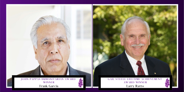Purple Gradient with an image of Frank Garcia and Larry Ratto Overlayed