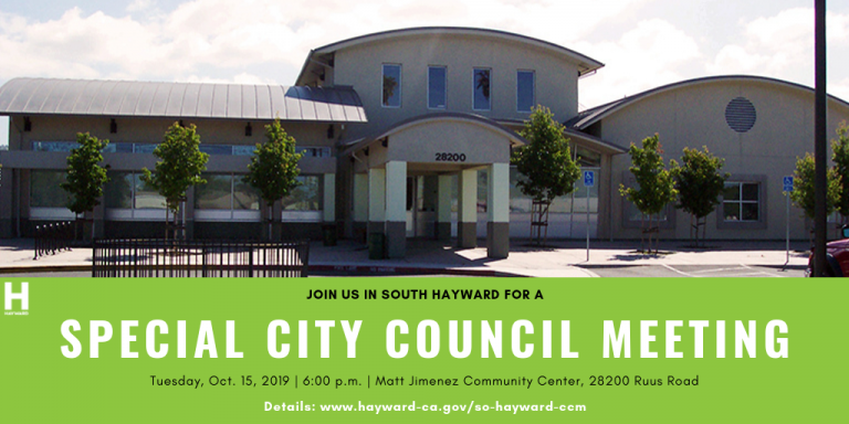 Matt Jimenez Community Center with a green text box that says 'Join us in South Hayward for a Special City Council Meeting'