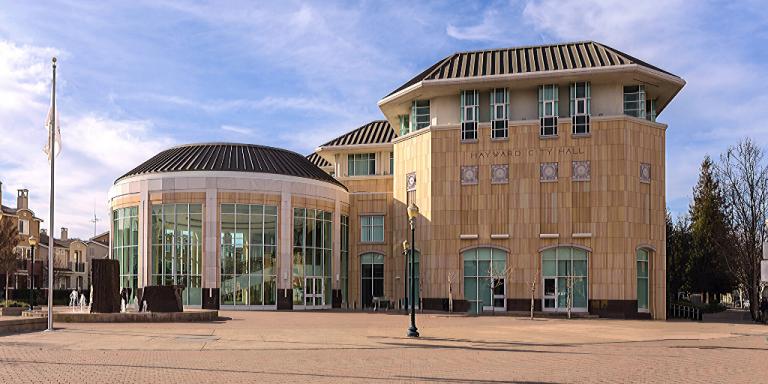 Hayward City Hall on a bright and sunny day