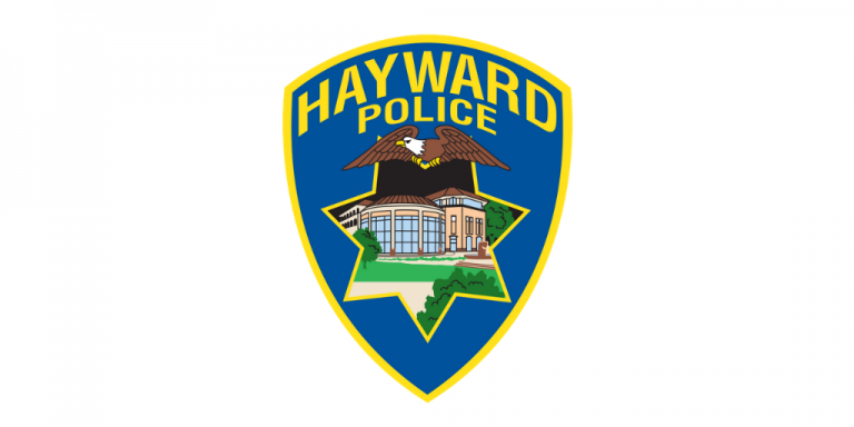 Blue Hayward Police Badge on a white background