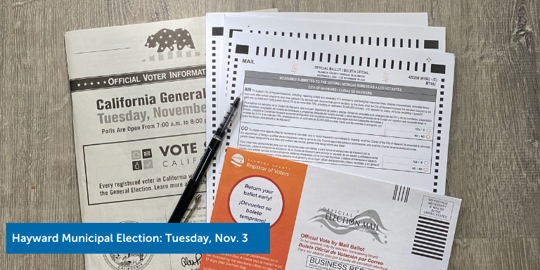 Election materials with the text: Hayward Municipal Election: Tuesday, Nov. 3